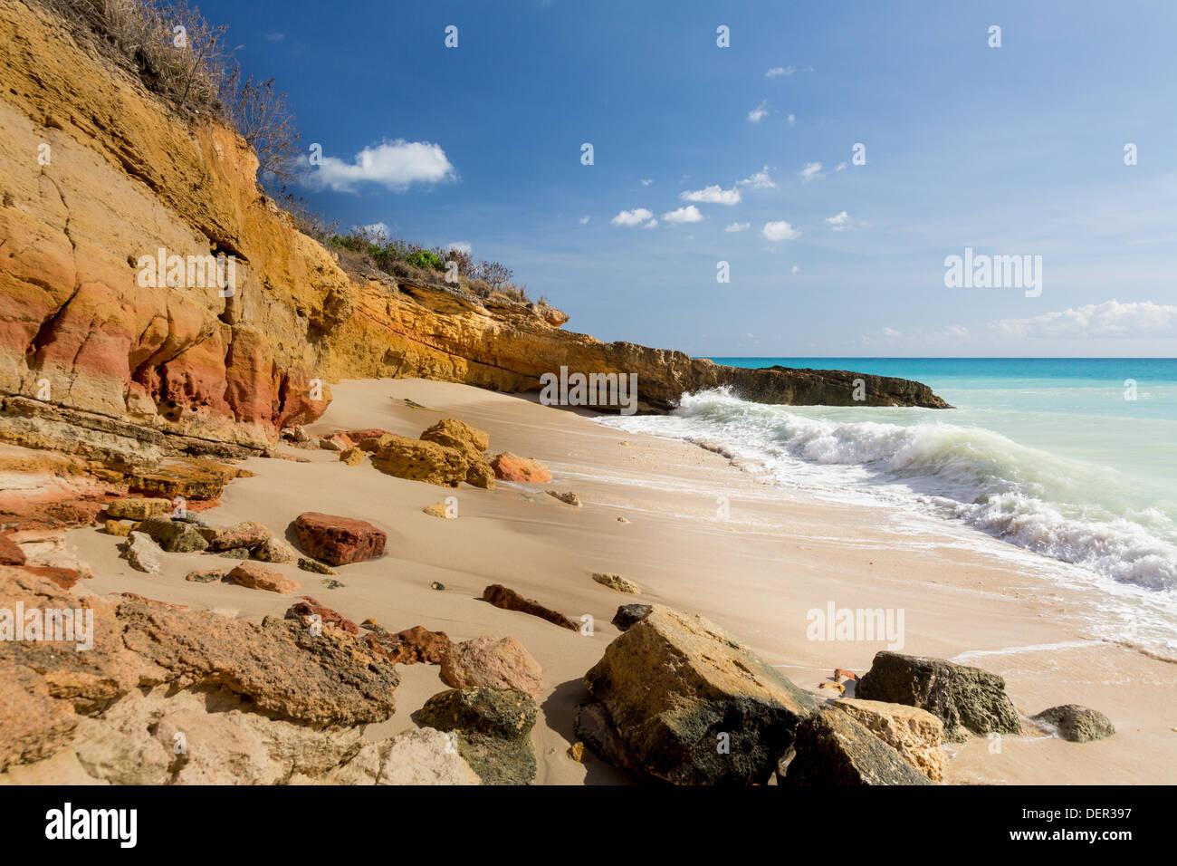 Cupecoy Beach auf St. Maarten / St. Martin, Karibik Stockbild