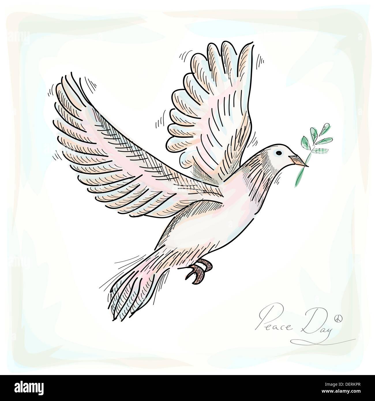 Hand gezeichnet Friedenssymbol Taube Vogel mit Textur Hintergrund ...