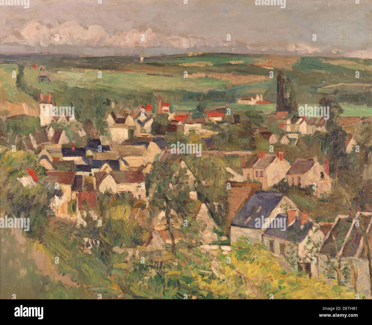 Paul Cézanne - Panorama Blick auf Auvers - Chicago, Art Institute Stockbild