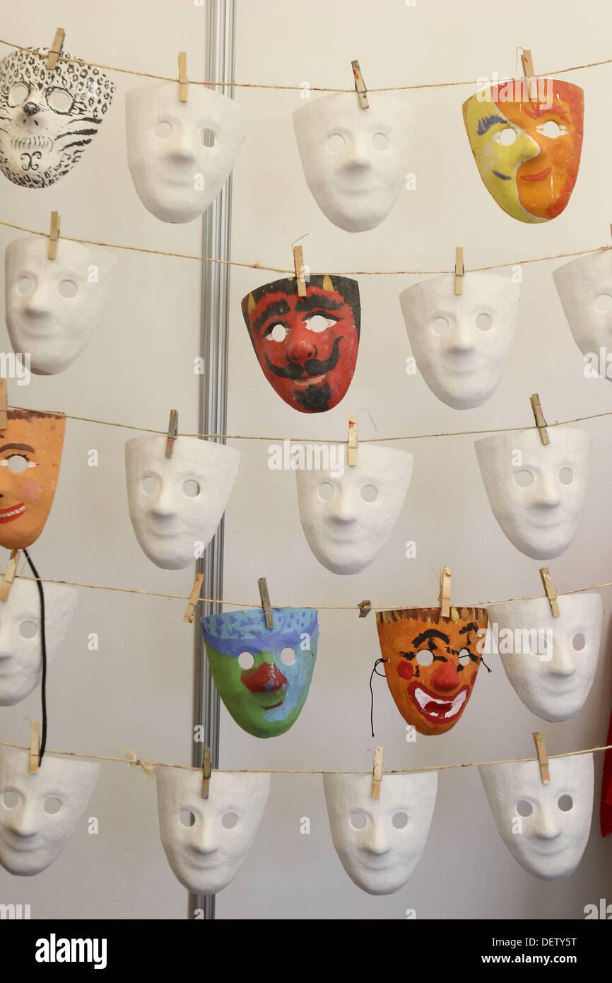 Pappmaché Masken Stockbild