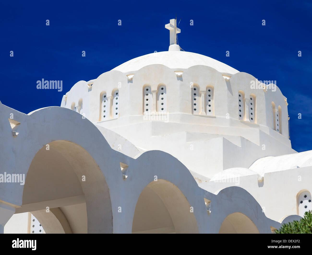 Die orthodoxe Kathedrale in der wichtigsten Stadt der Fira Santorini Insel Griechenland Europa Stockbild