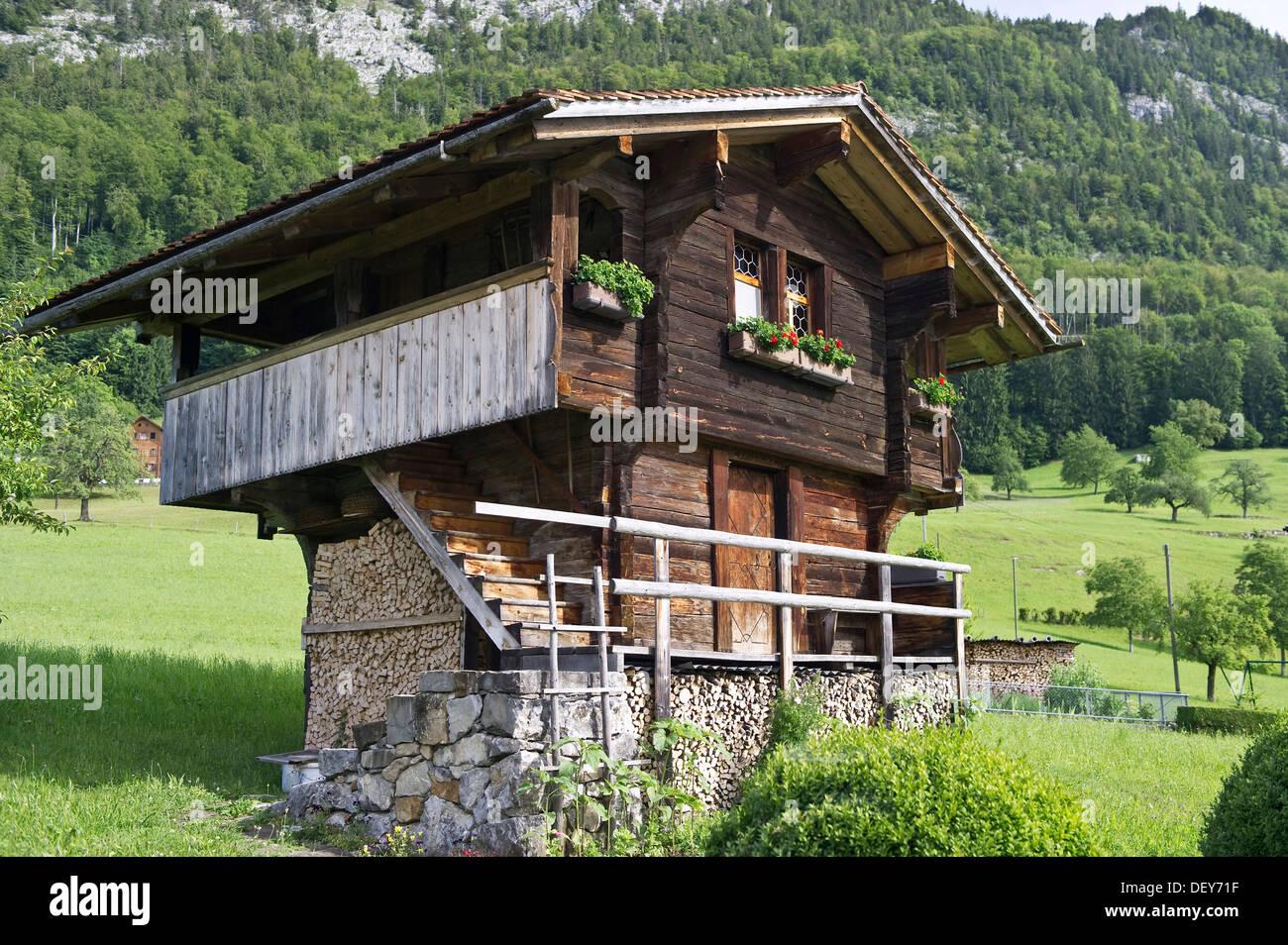 Scheune auf dem Pilatus, Kanton Luzern, Schweiz, Europa Stockbild