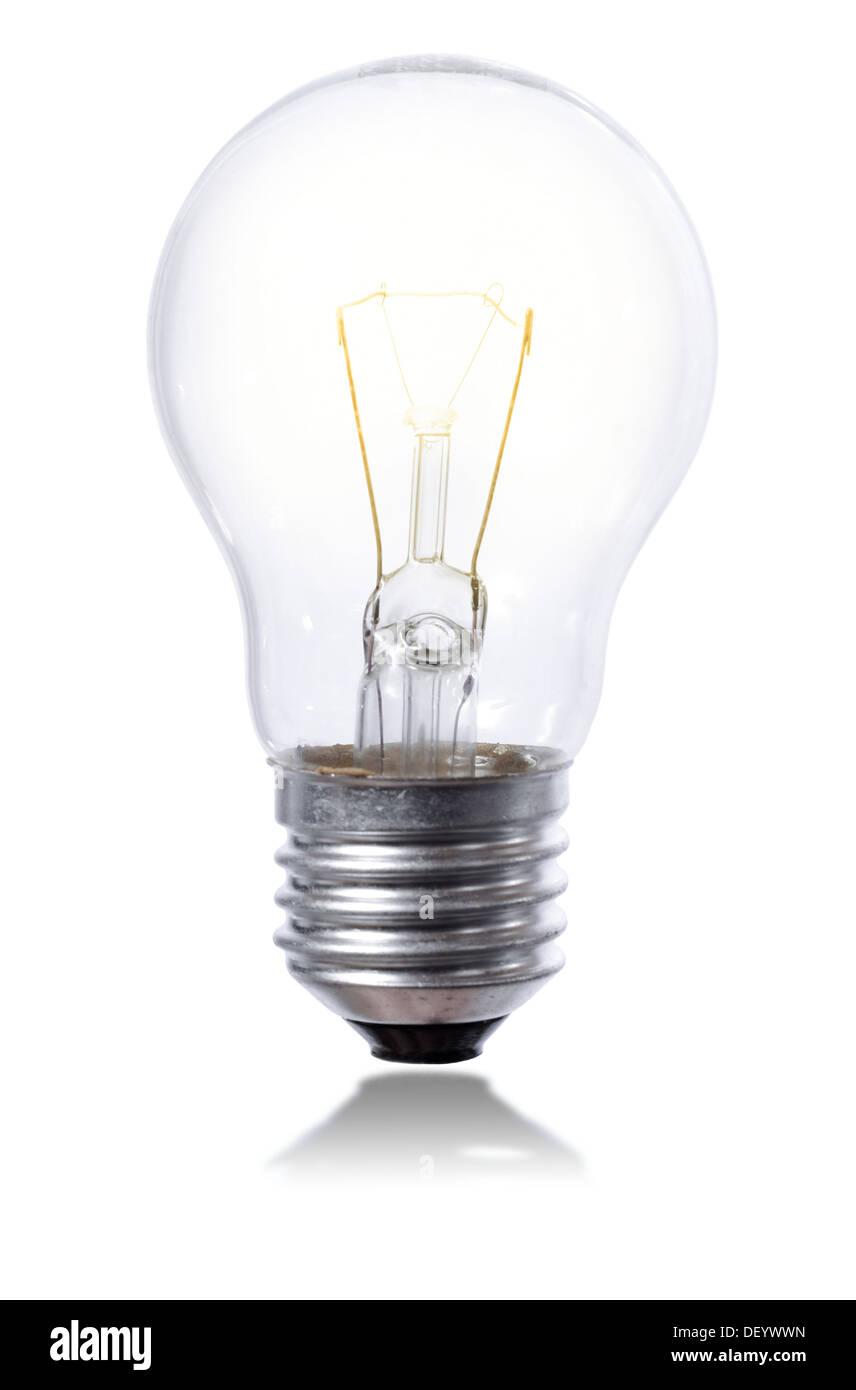 Glühbirne, die isoliert auf Pfingstmontag Hintergrund mit Element leicht Panoramasalon Stockbild