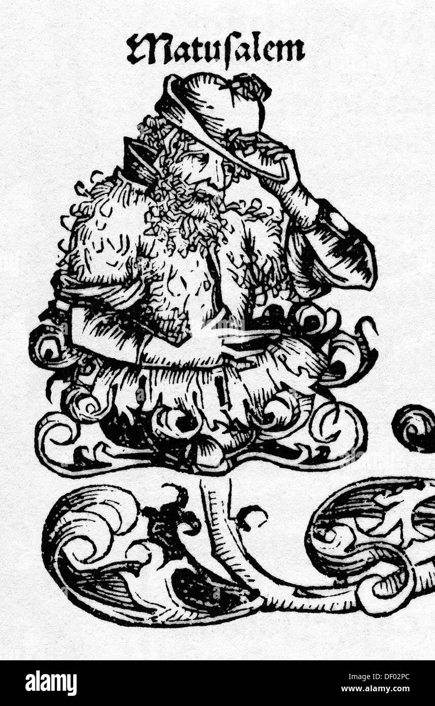 Methusalem, Holzschnitt aus Schedelsche Weltchronik, 1493 Stockbild