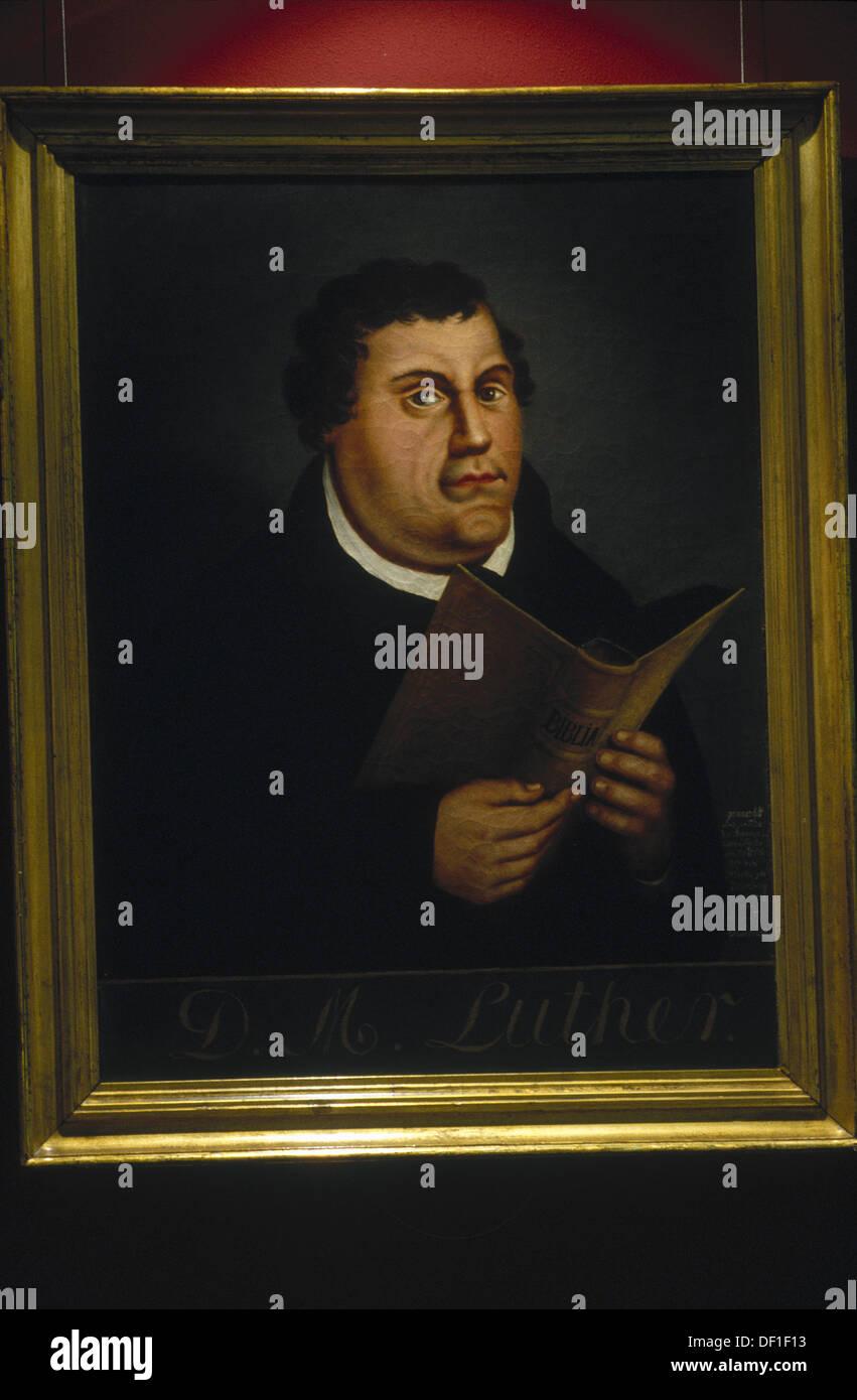 Luther-Porträt von Lucas Cranach (1525). Luther-Museum. Wittenberg. Sachsen-Anhalt. Deutschland. Stockbild