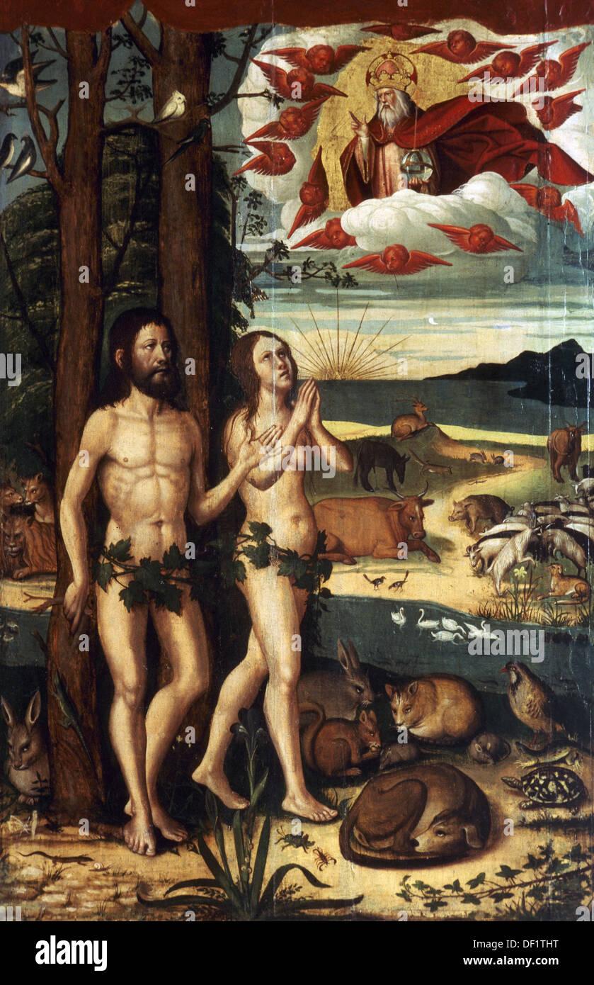 Pere Mates (1500-1558). Spanischer Maler. Altarbild von Santa Maria della Seguero. Detail. Adam und Eva im Paradies. Stockbild