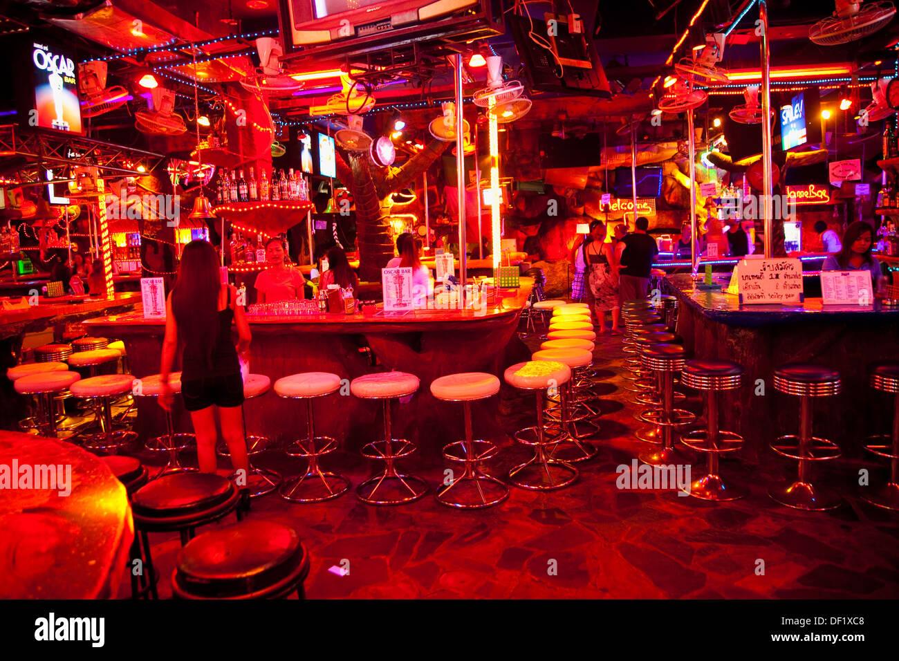 Nachtleben Blanga Straße Patong Phuket Thailand. Stockbild
