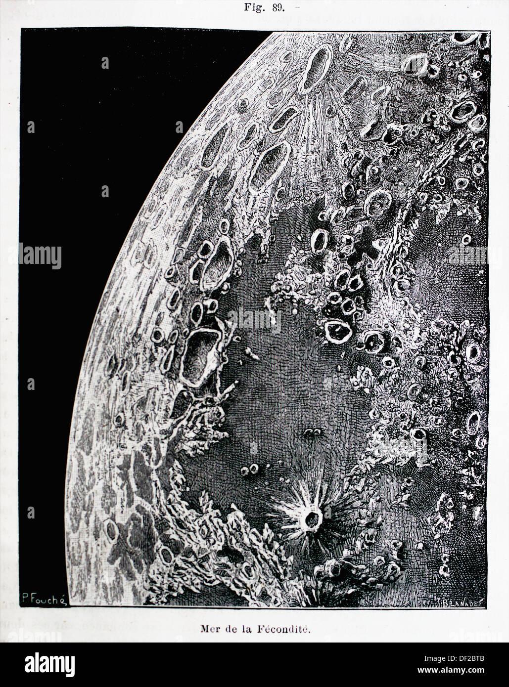 Lunar-Geographie: Meer der Fruchtbarkeit, ´L´Astronomie´ Journal von Camille Flammarion, 1883 Stockbild