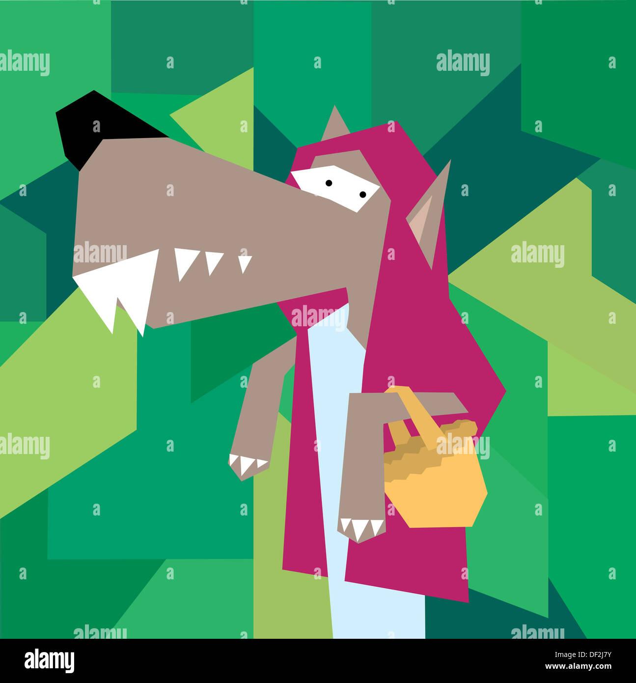 Wolf als kleine rote Kappe Stockbild