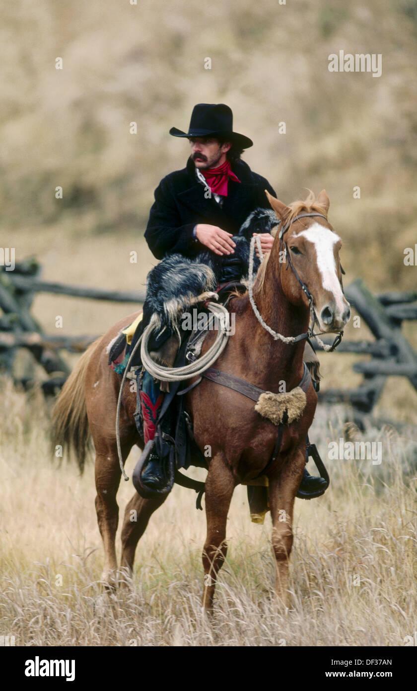 Single mann mit pferd