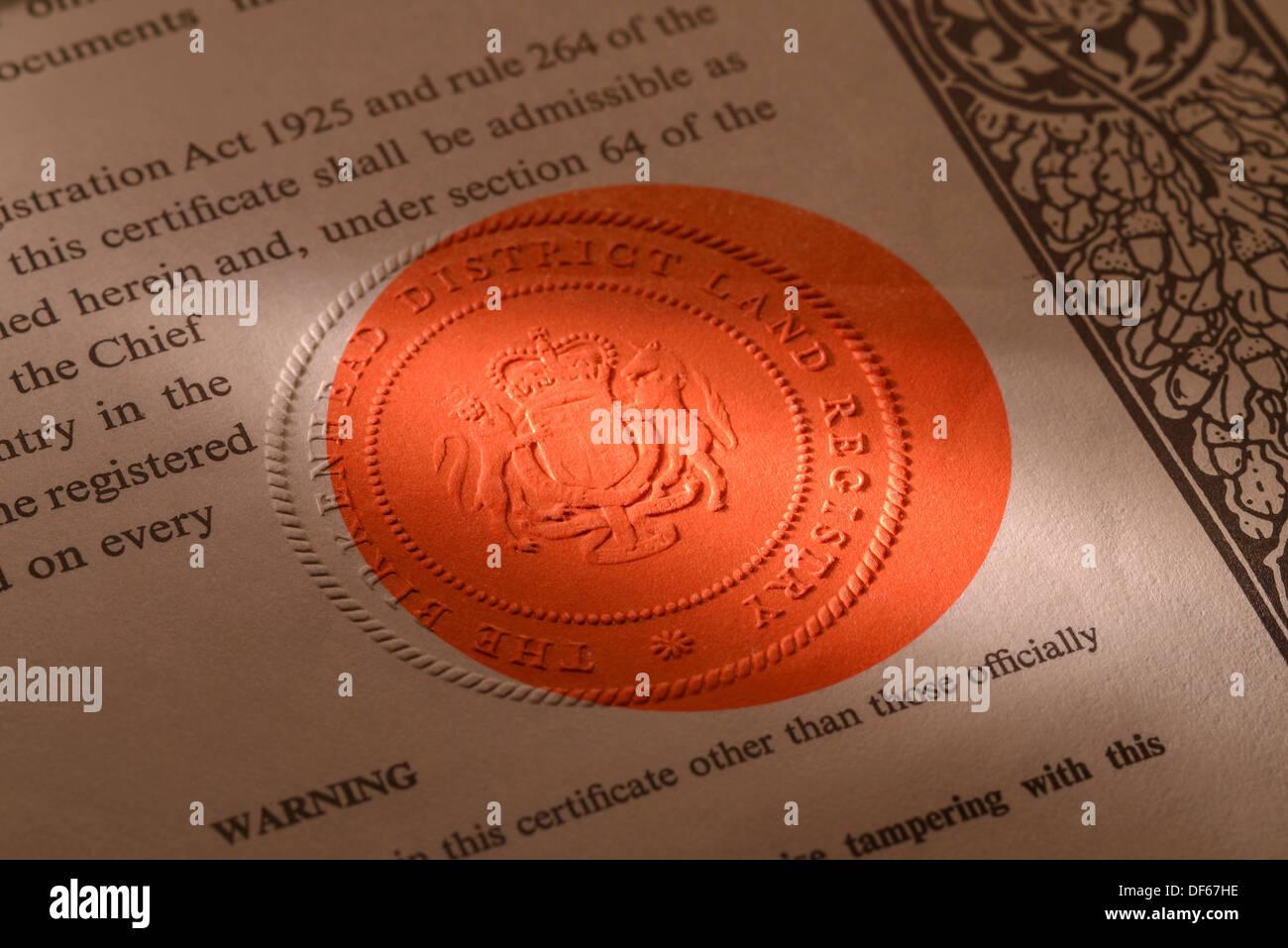 UK Land Registry Land Zertifikat Eigenschaft Dokument Dienstsiegel Stockfoto