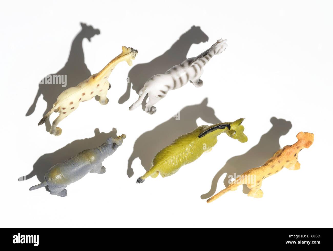 Kunststoff-Spielzeug Wildtiere overhead Stockbild