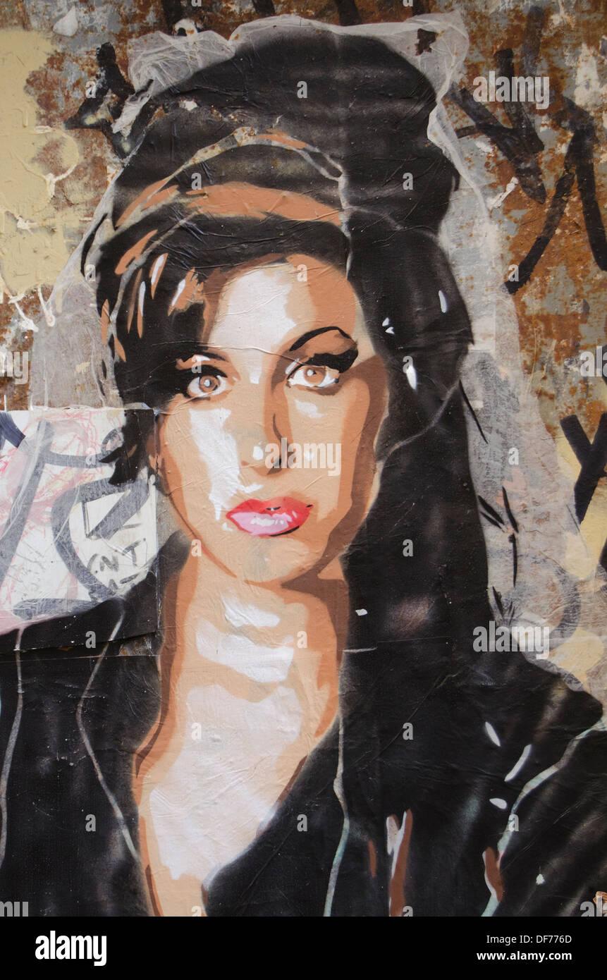 Spanien, Barcelona, Graffiti in der Stadt von Gracia Stockbild