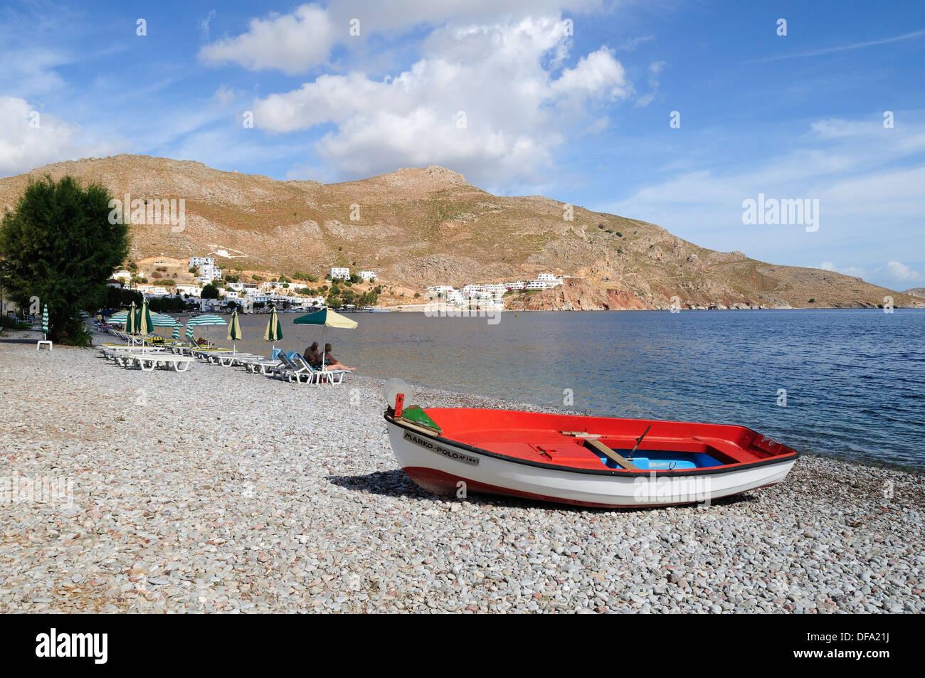 Livadia Strand Tilos griechische Insel der Dodekanes-Griechenland Stockbild