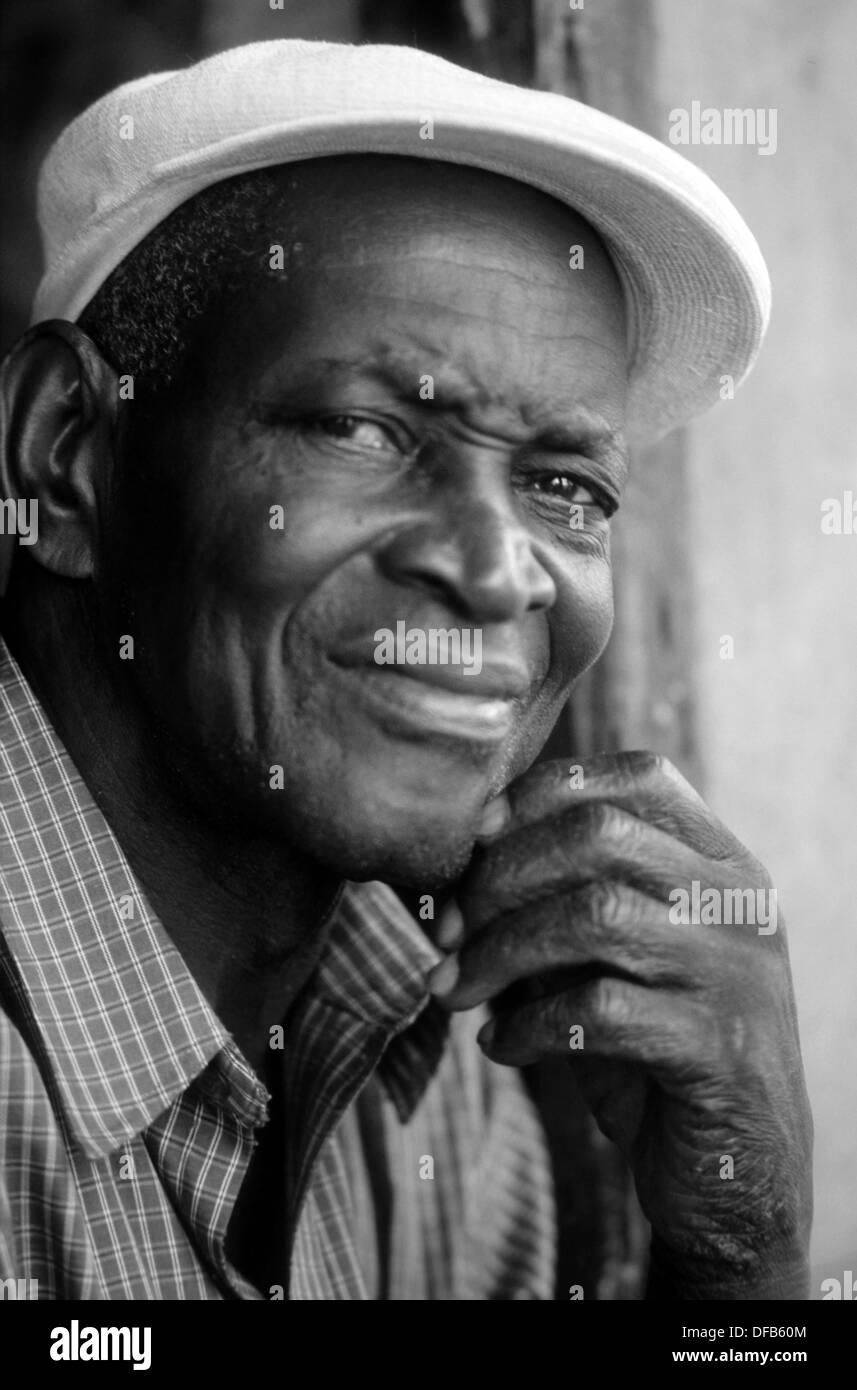 Porträt von einem schwarzen kubanischen Stockbild