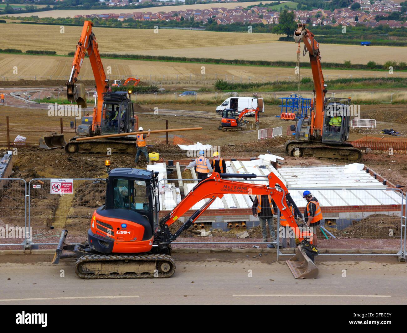 Schwere Maschinen im Wohnungsbau, Grantham, Lincolnshire Stockbild