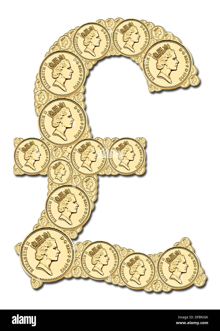 Britische Pfund Zeichen Aus Pfund Münzen Hergestellt Stockfoto Bild