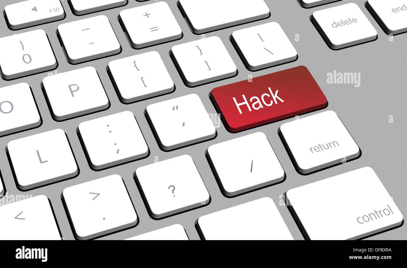 Nahaufnahme einer Computer-Tastatur mit einem Taster für Hack Stockbild