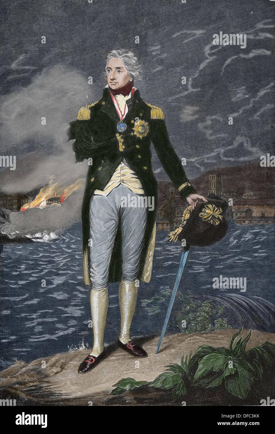 Horatio Nelson (1758-1805). Britische Flagge-Offizier berühmt für seinen Dienst in der Royal Navy. Gravur. Stockbild