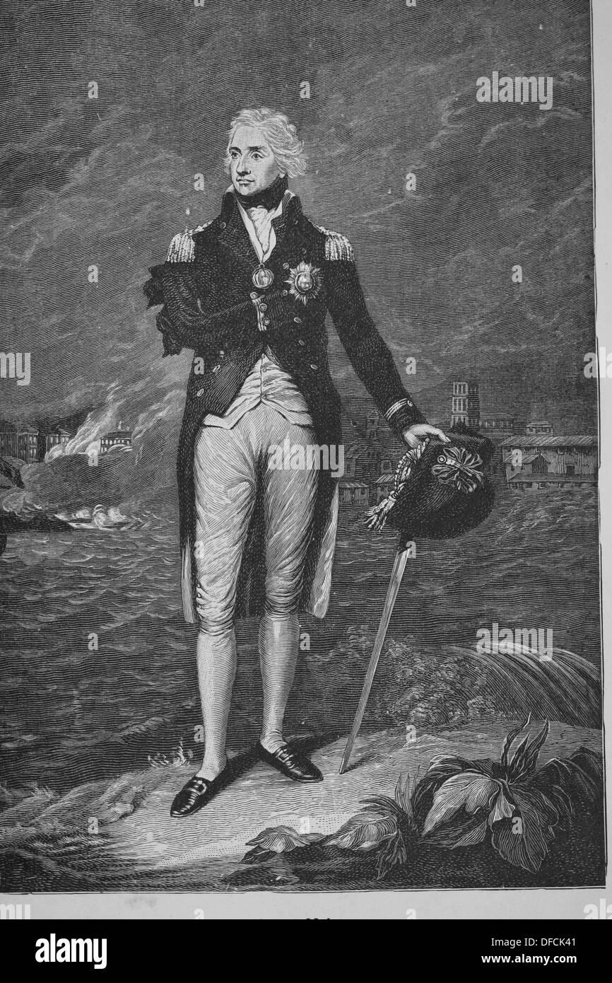 Horatio Nelson (1758-1805). Britische Flagge-Offizier berühmt für seinen Dienst in der Royal Navy. Stockbild