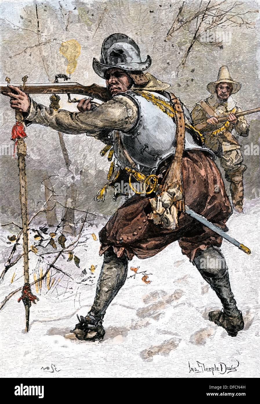 Die Rüstung von Pilger getragen in Massachusetts im Jahre 1620. Hand - farbige Holzschnitt Stockfoto