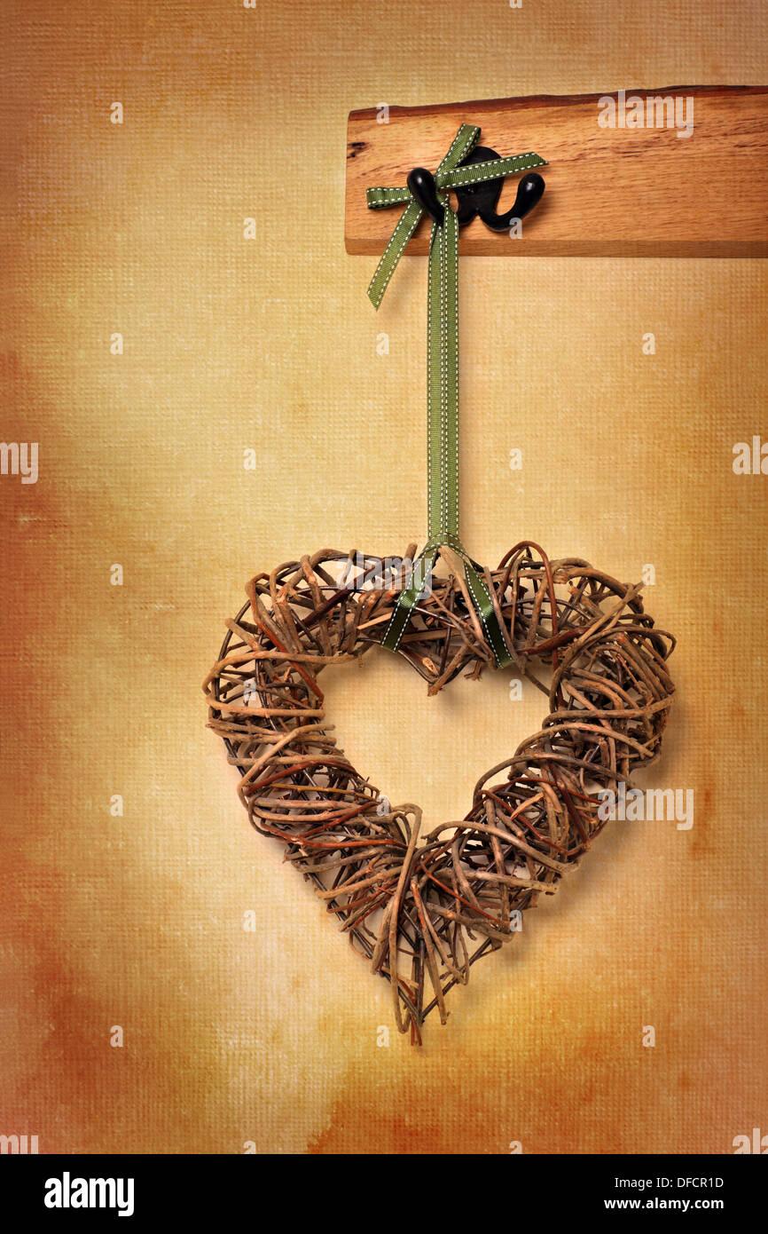 Liebe Herz Hängend Aus Holz Garderobe Strukturierten