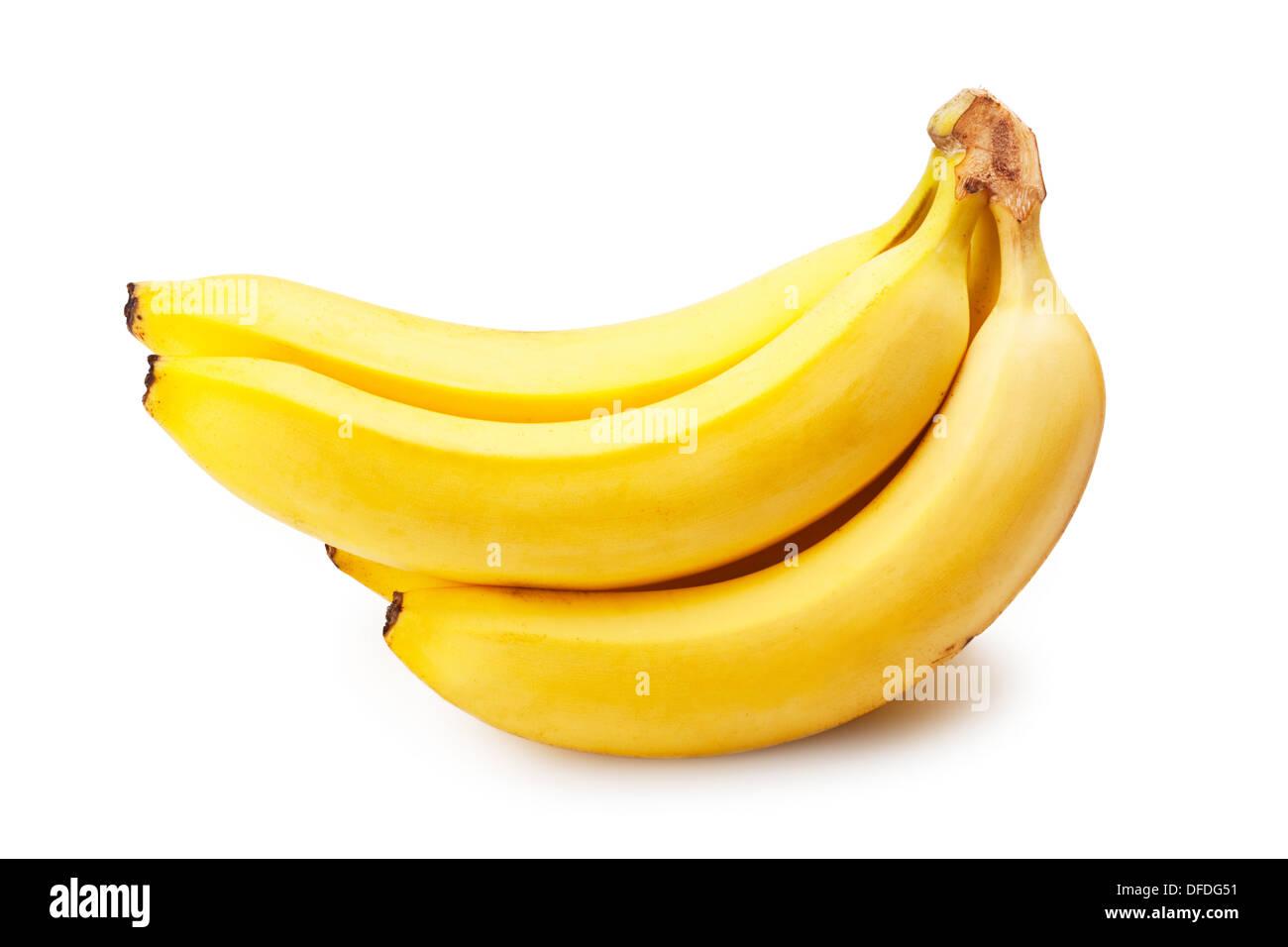 Bündel Bananen isoliert auf weißem Hintergrund Stockbild