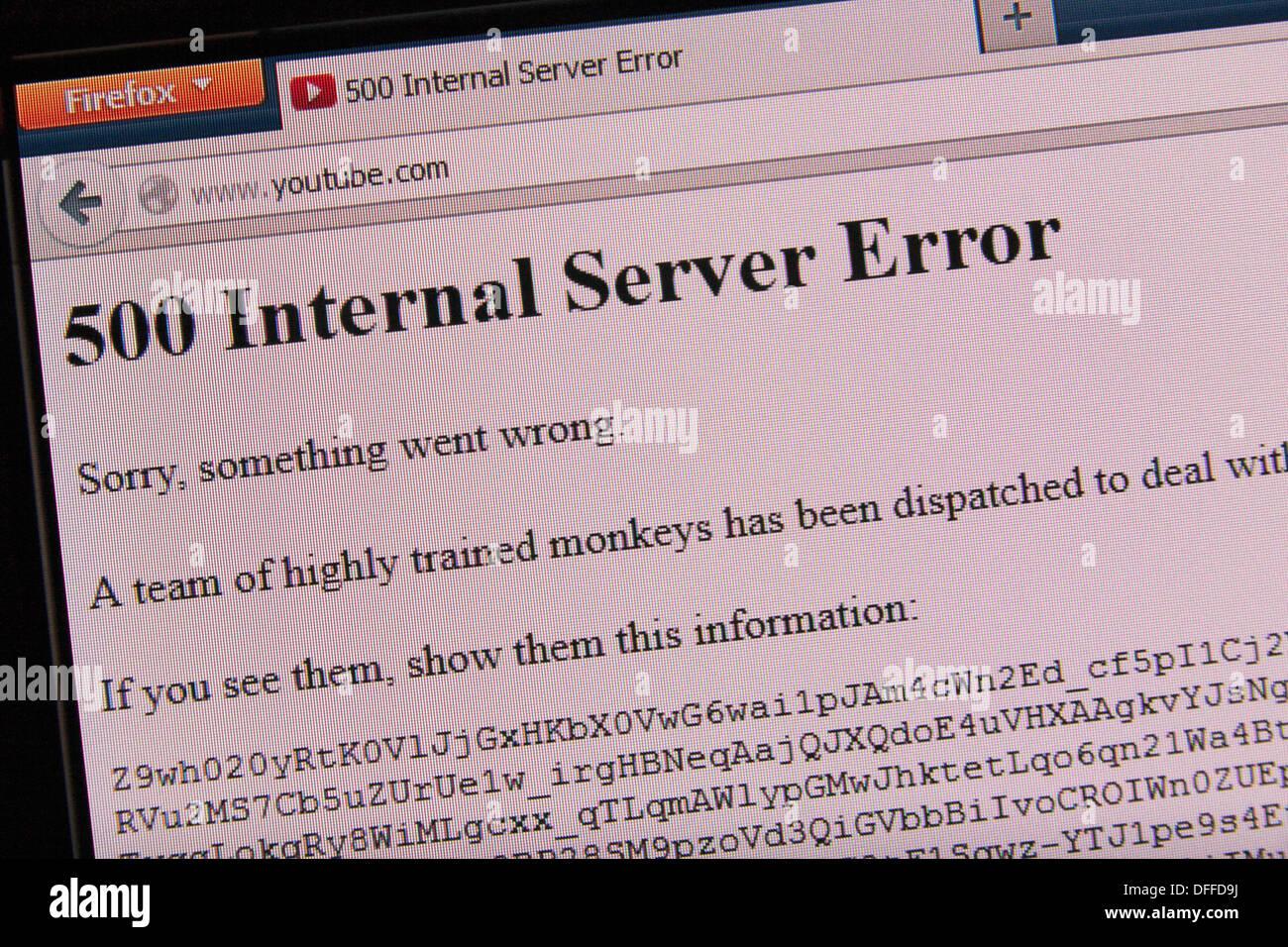"""Das """"Team von gut ausgebildeten Affen"""" Server Fehlerbildschirm wenn Sie YouTube.com herstellen können. Stockbild"""