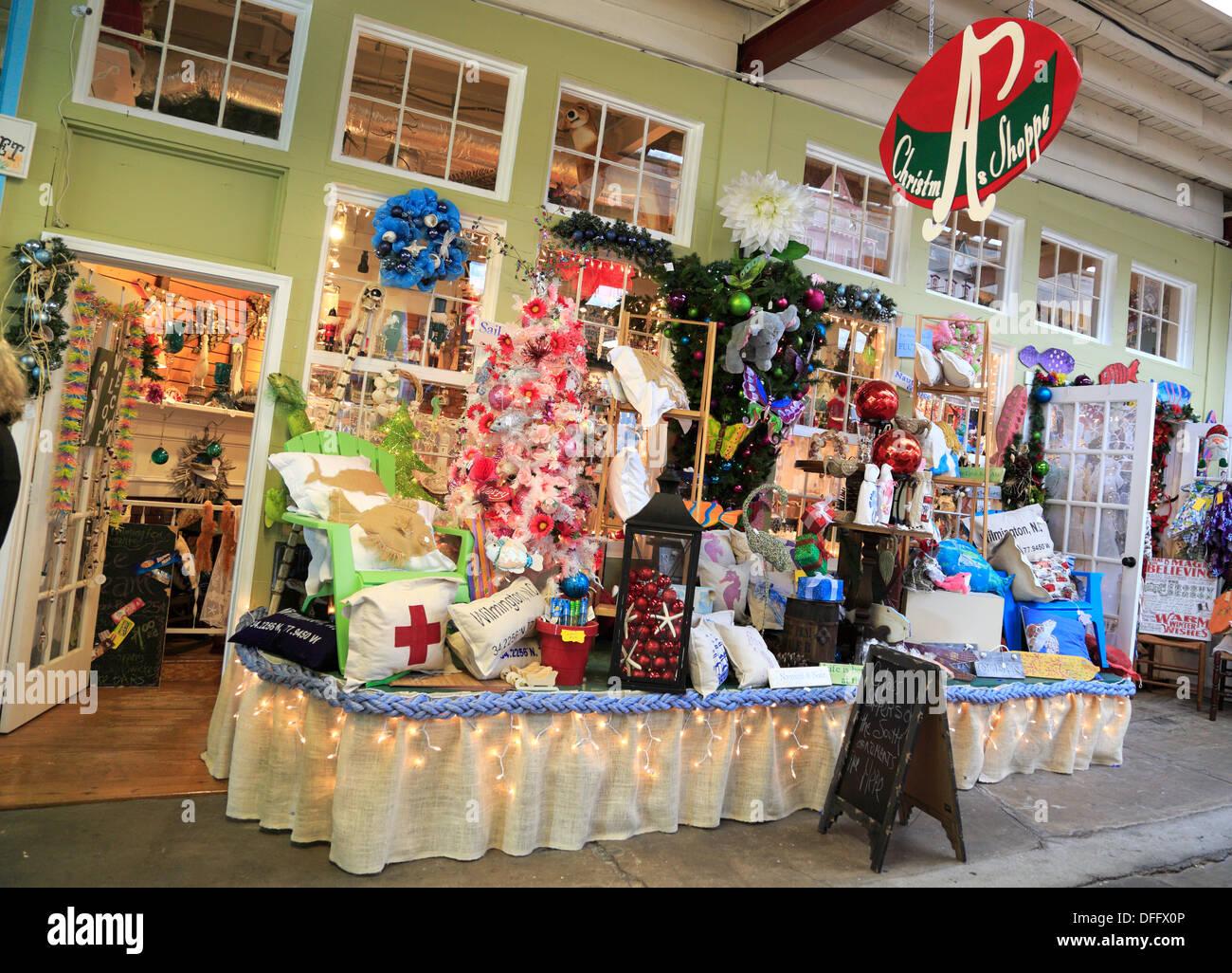Weihnachten Shop im City Market, Wilmington, North Carolina. Die ...