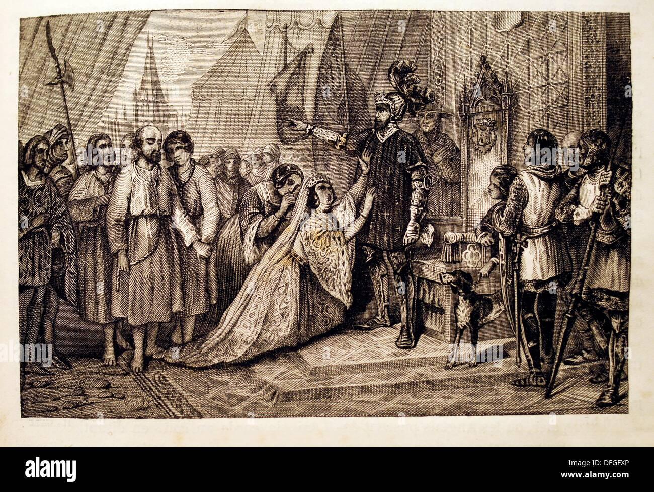 Frankreich-Geschichte-die Bürger von Calais nur Bourgeois de Calais´ im  Jahre 1347 während dem Krieg hundert, bei Calais, eine