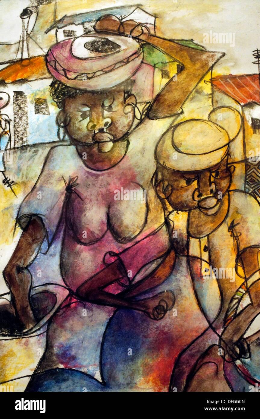 Detail der Malerei ´Township sparen von Gibson Mokhadoucha, Ditsong National Museum der Kulturgeschichte, Pretoria, South Africa Stockbild