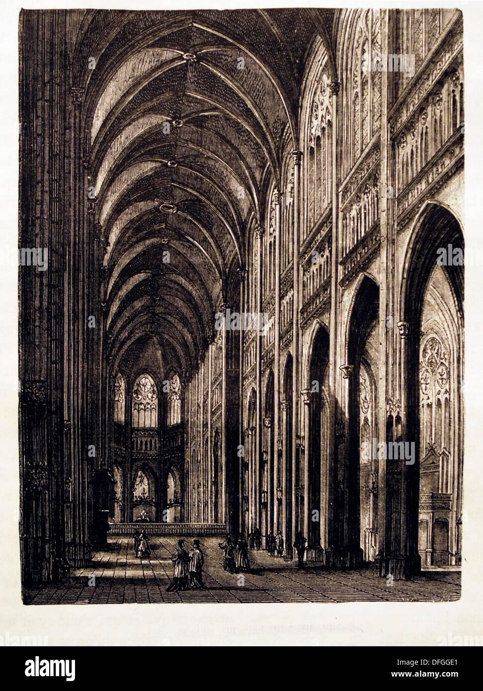 Frankreich-Geschichte-´Interieur de L´église Saint-Oen, À Rouen´: die Kirche von St-Ouen ist eine große gotische römisch-katholische Kirche in Stockbild