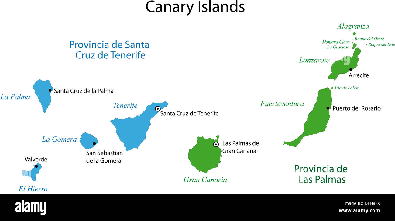Kanaren Inseln Karte.Kanarische Inseln Karte Stockfoto Bild 61230846 Alamy