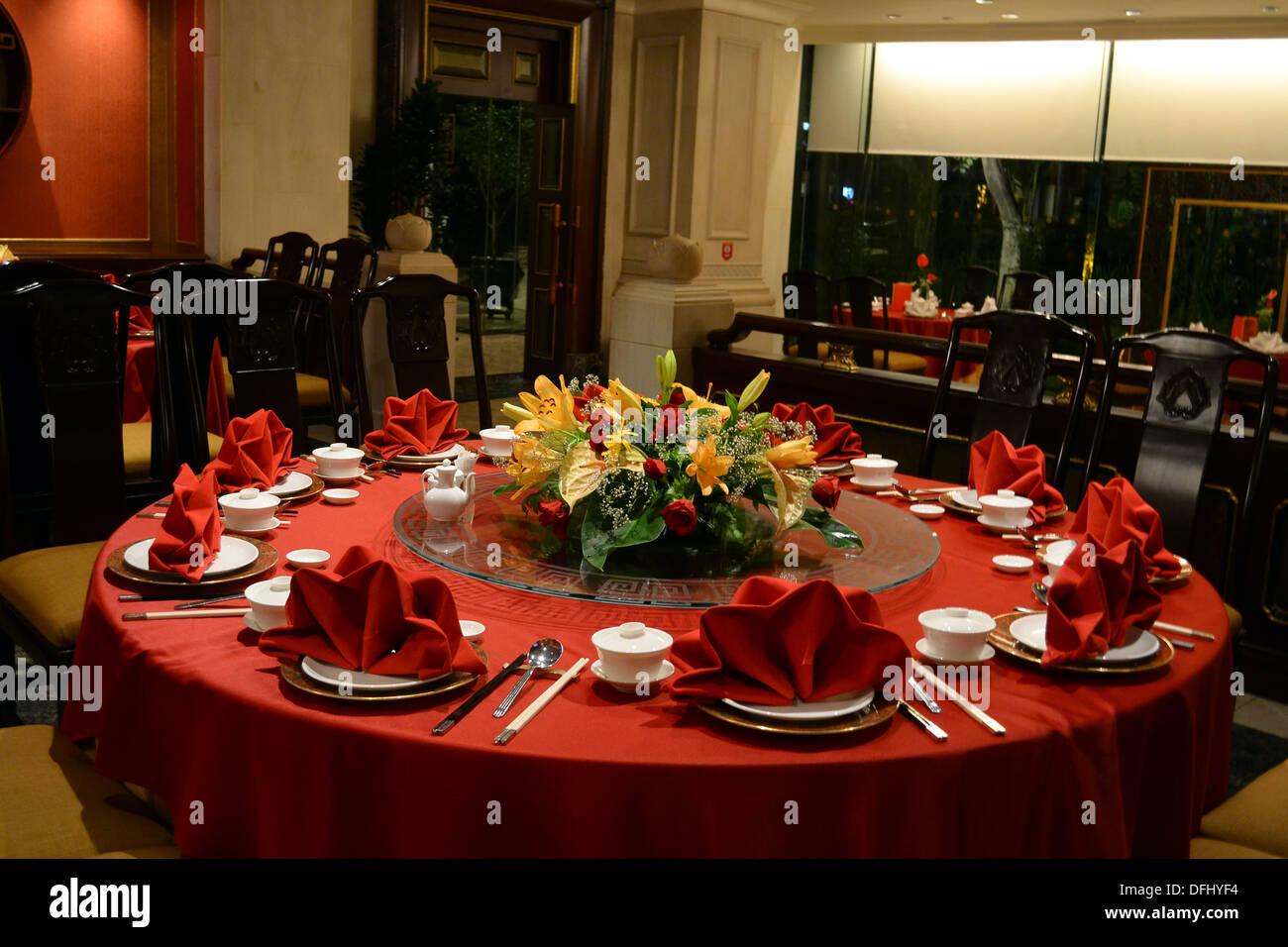 Die Einrichtung eines chinesischen Restaurants Stockfoto, Bild ...