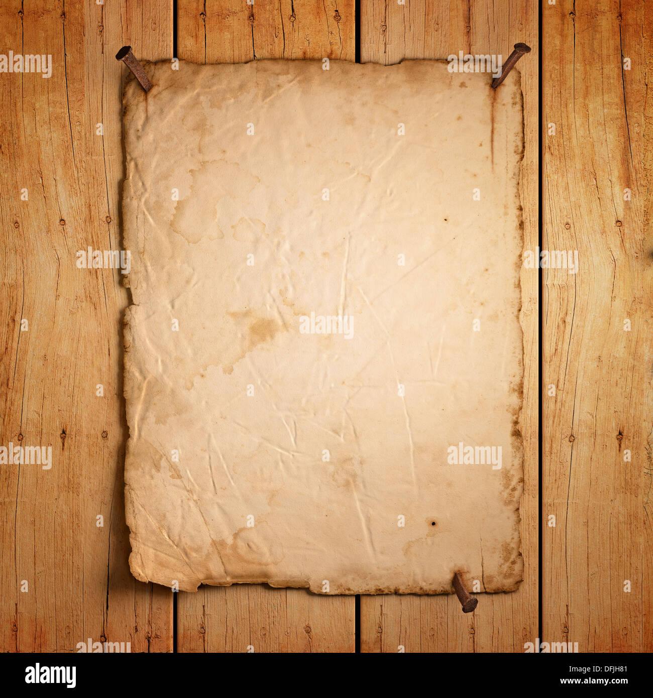 leere altes papier mit rostigen n geln auf holz hintergrund 3d render stockfoto bild. Black Bedroom Furniture Sets. Home Design Ideas