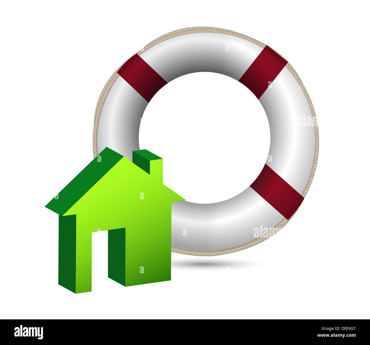 Hausdesign Versicherungskonzept Abbildung auf weiß Stockfoto ...
