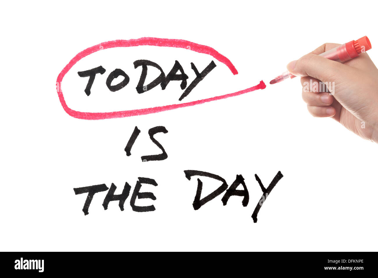 Heute ist der Tag konzeptionelle Wörter auf Tafel Stockbild