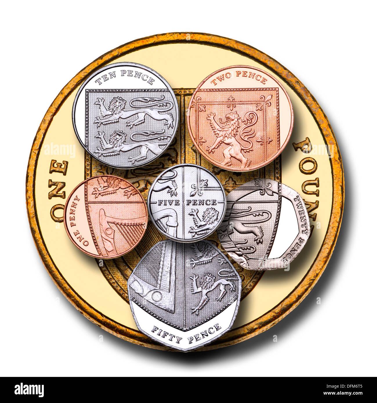 Britischer Prägung Alle Münzen Zusammen Bilden Das Schild Auf Die