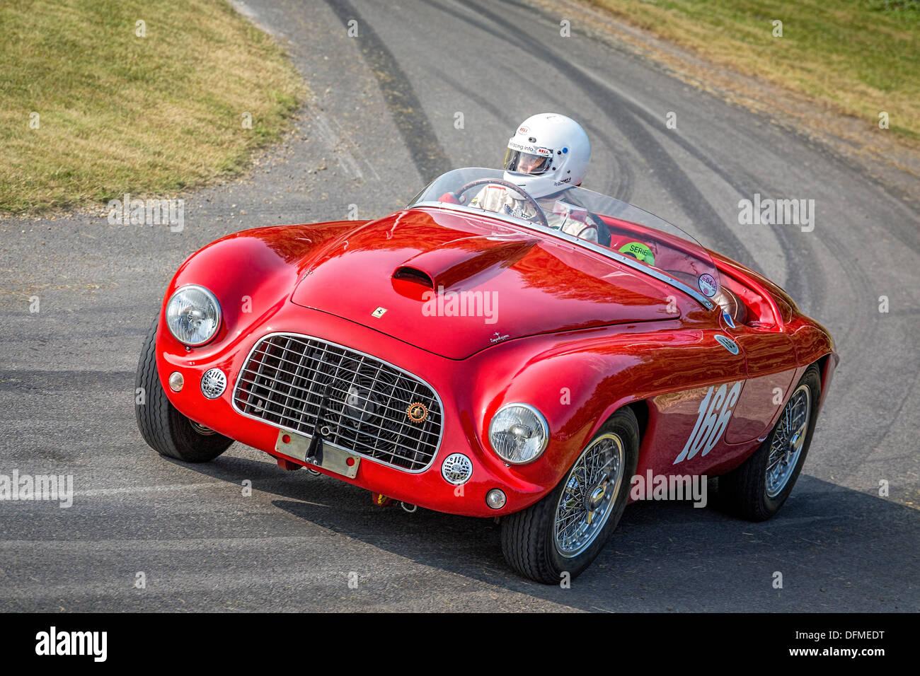 1950 Ferrari 166 Mm Barchetta Mit Fahrer Sally Mason Styrron Auf Die 2013 Goodwood Festival Of Speed Sussex Uk Stockfotografie Alamy