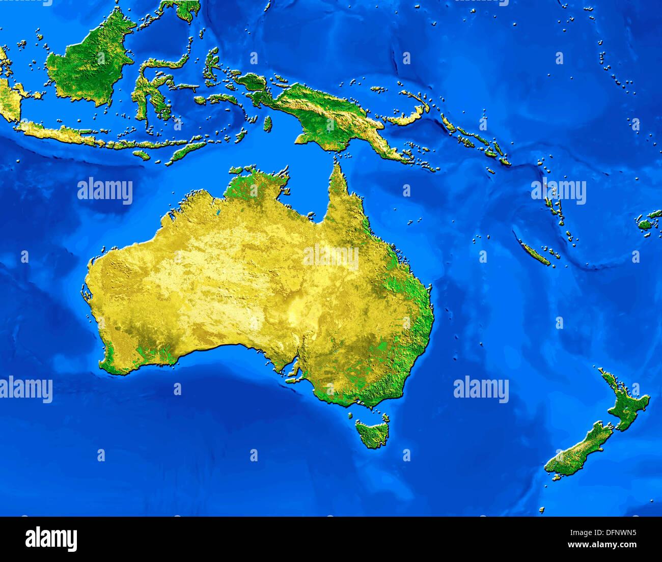 Australia And New Zealand Map Stockfotos & Australia And New ...