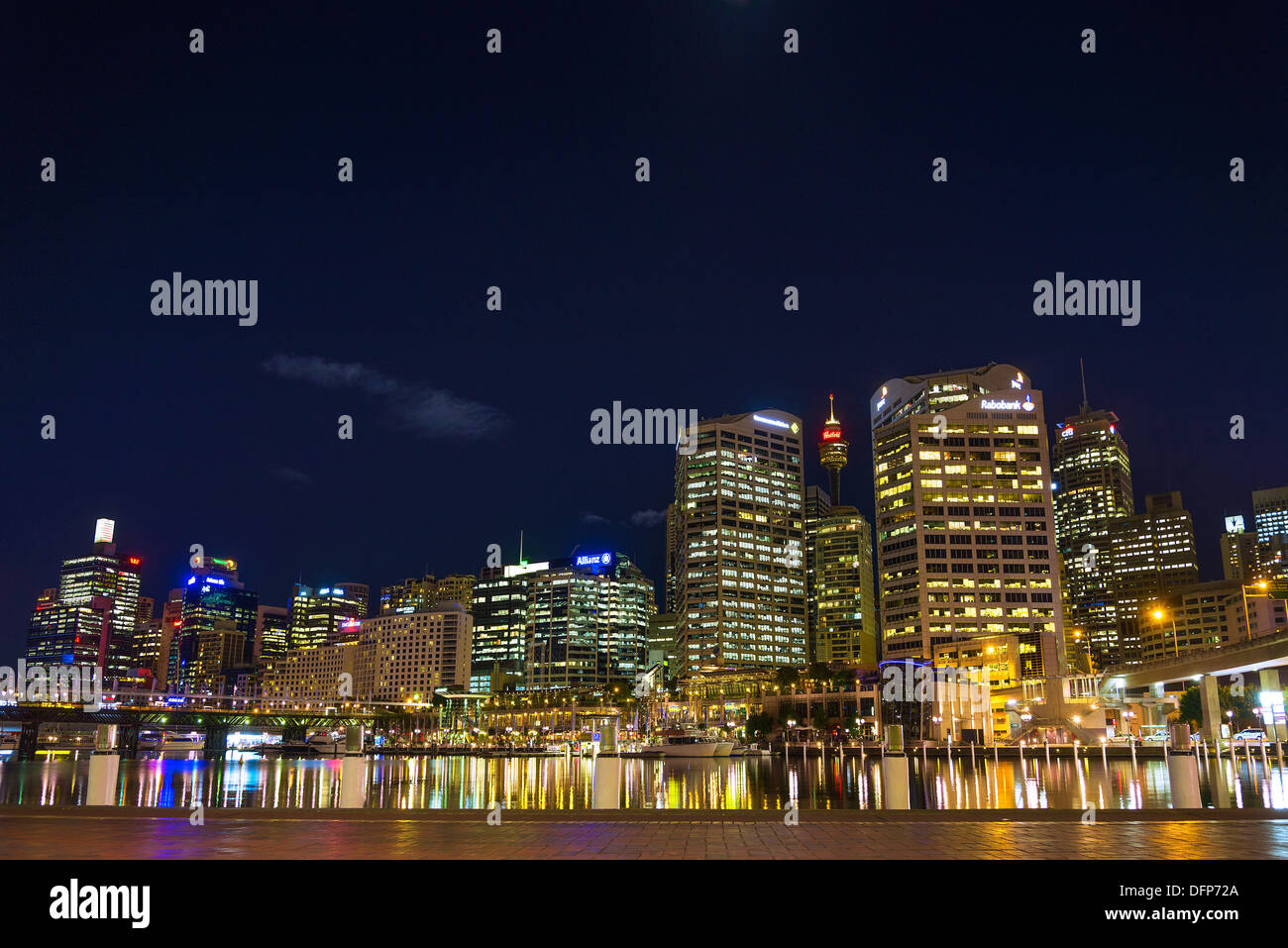 Skyline von den Darling Harbour in Sydney, Australien Stockbild