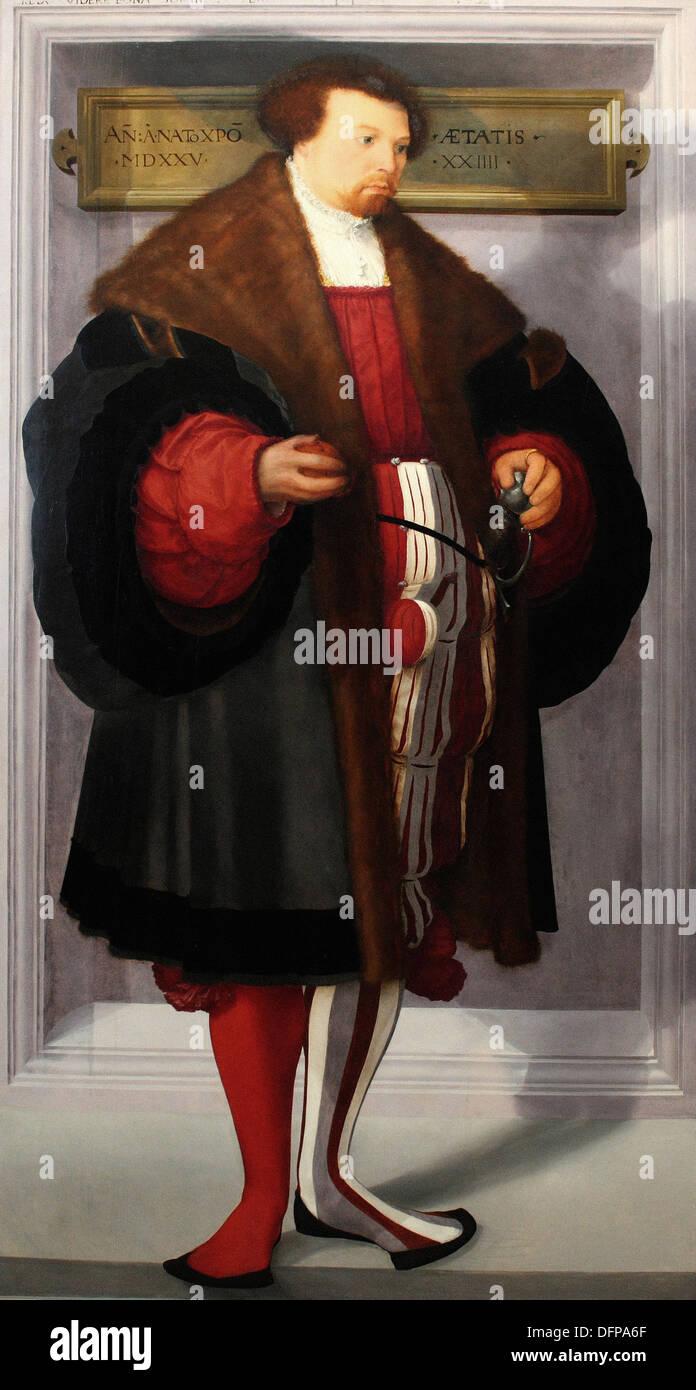 Christoph AMBERGER - Portrait eines Mannes - 1525 - Kunsthistorisches Museum - Vienna Stockbild