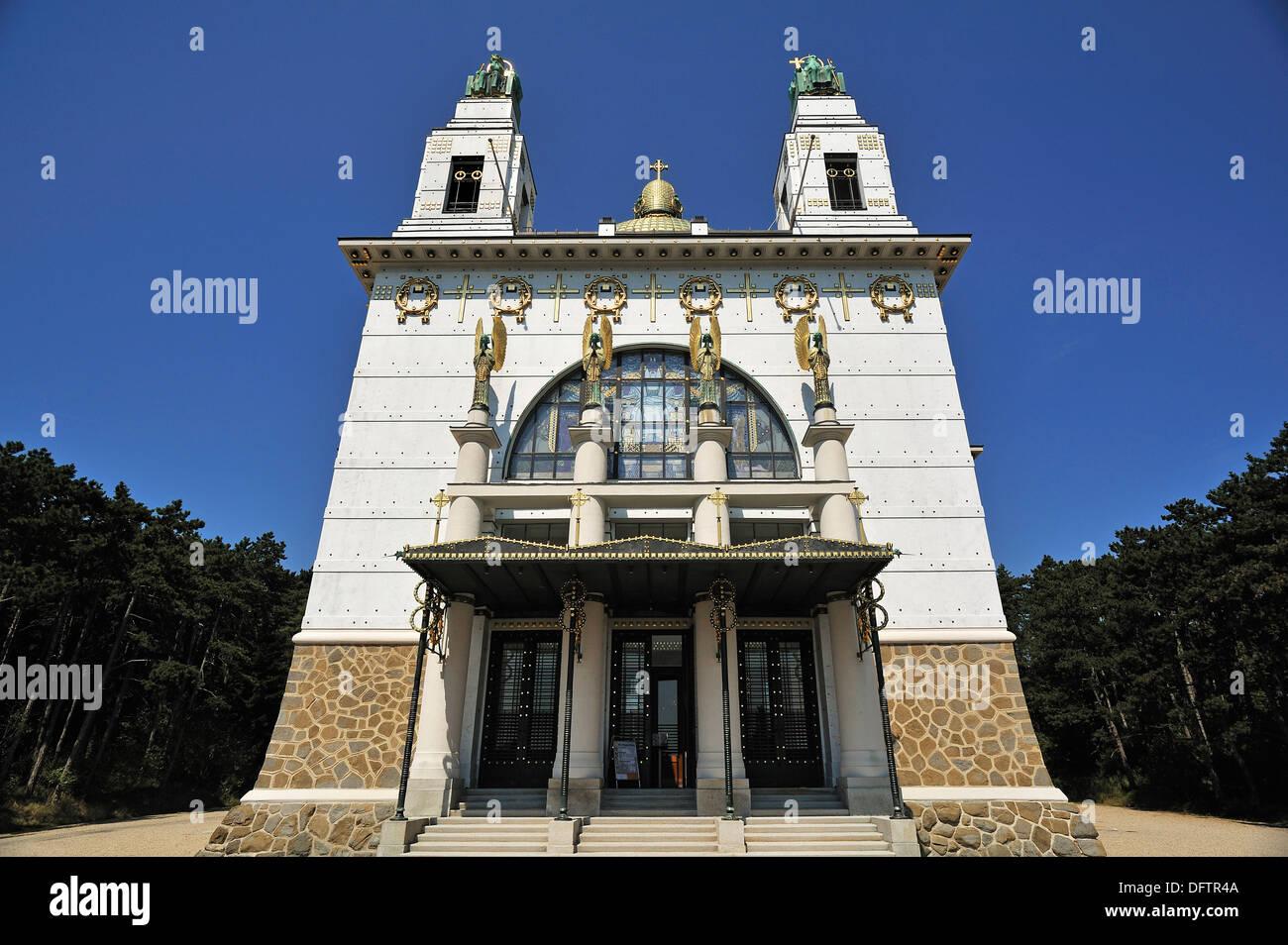 Kirche St. Leopold am Steinhof psychiatrisches Krankenhaus erbaut 1904-1907, entworfen von Otto Wagner, wichtige Gebäude von der Stockbild