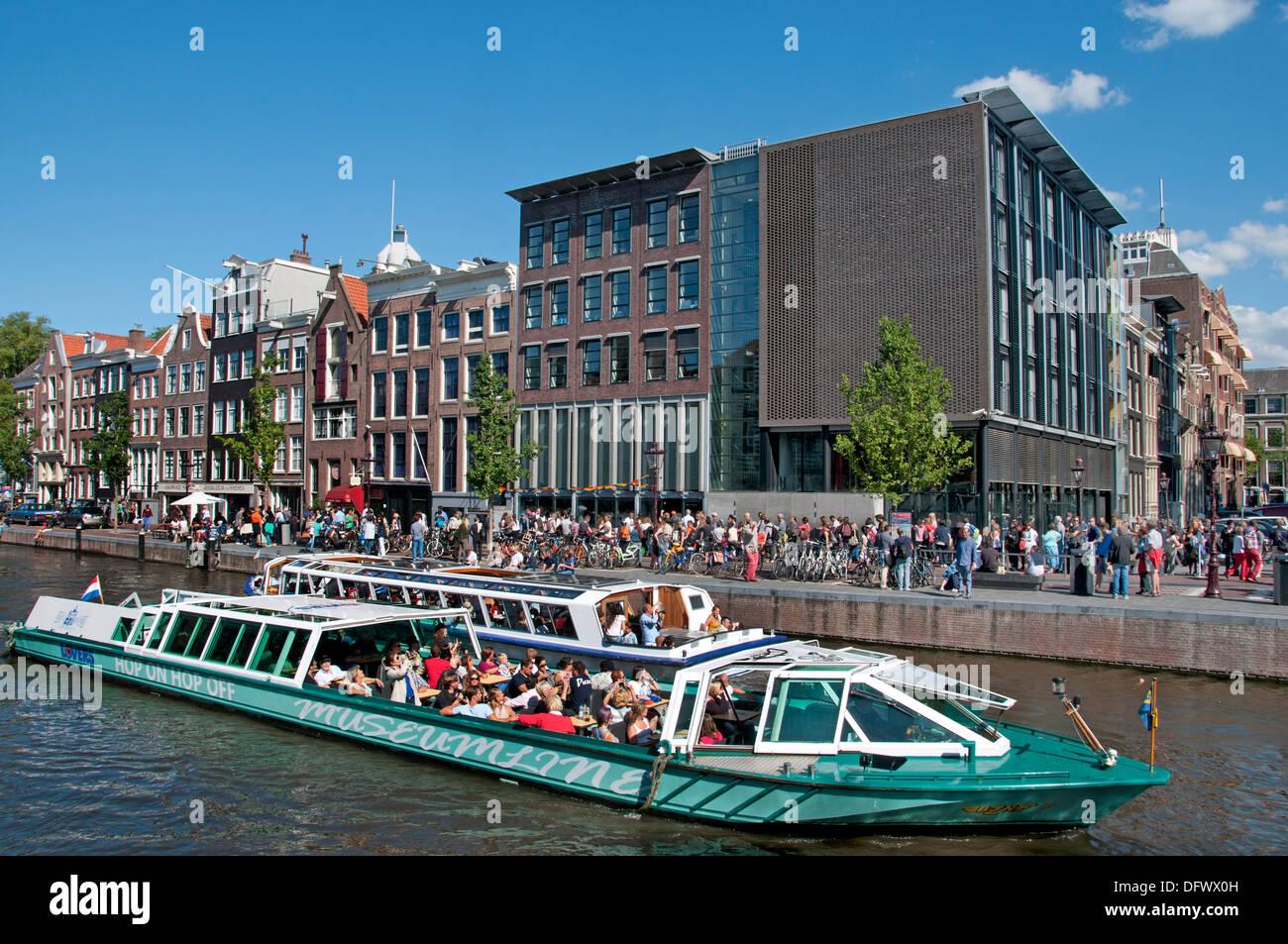 Anne-Frank-Haus (linke alte Haus Prinsengracht) 263-265 Amsterdam Niederlande (Museum des jüdischen Krieges Tagebuchschreiberin gewidmet) Stockfoto