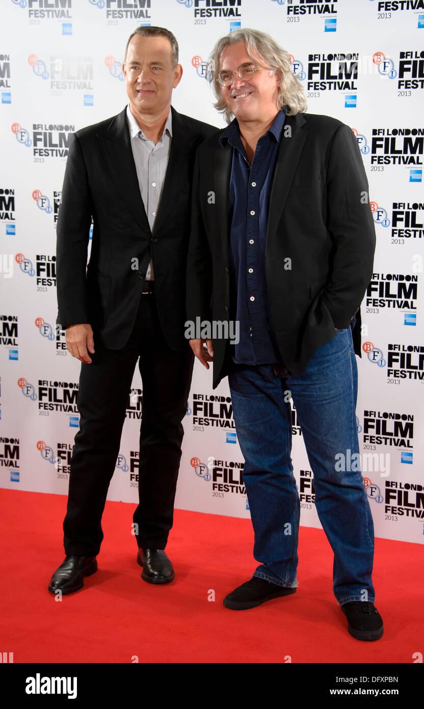 US-Schauspieler Tom Hanks und britische Regisseur Paul Greengrass kommen für die BFI London Film Festival Kapitän Phillips Photocall. Stockbild