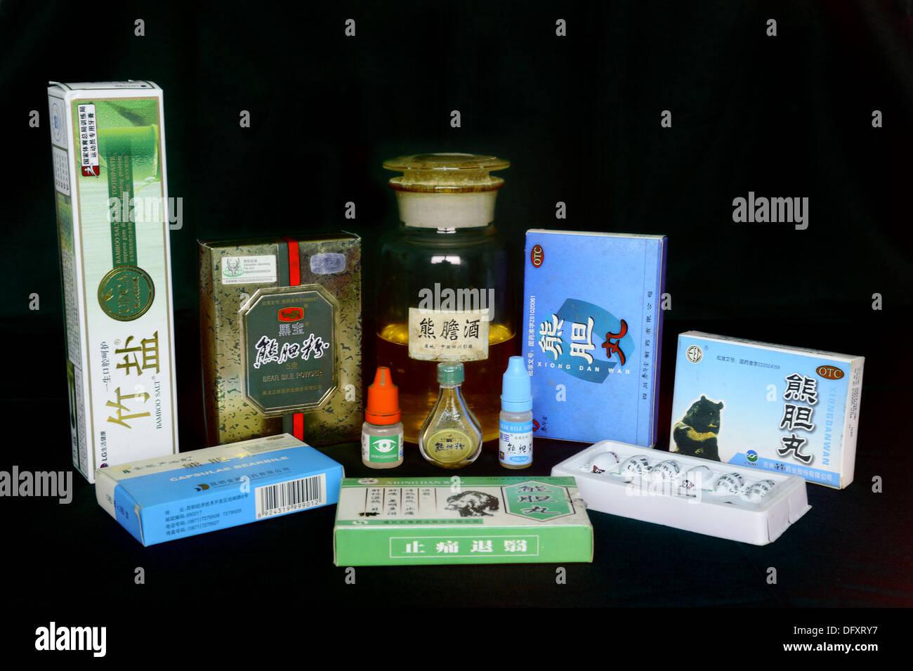 Galle-Produkt aus asiatischen Schwarzbären (Ursus Thibetanus) verwendet in der traditionellen chinesischen Medizin Stockbild
