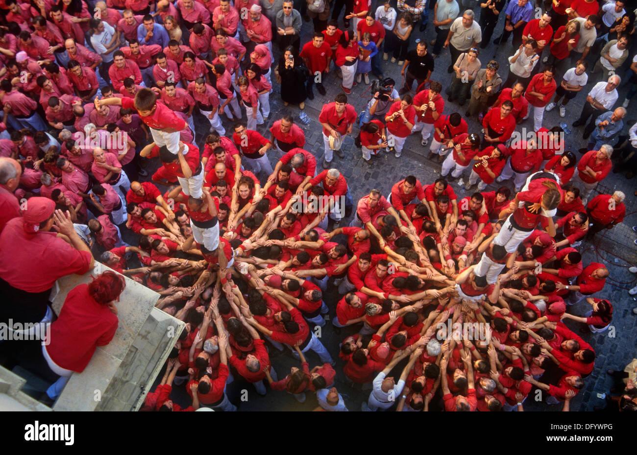 """""""Die Castellers"""" menschliche Turm, eine katalanische Tradition zu bauen. Stockbild"""