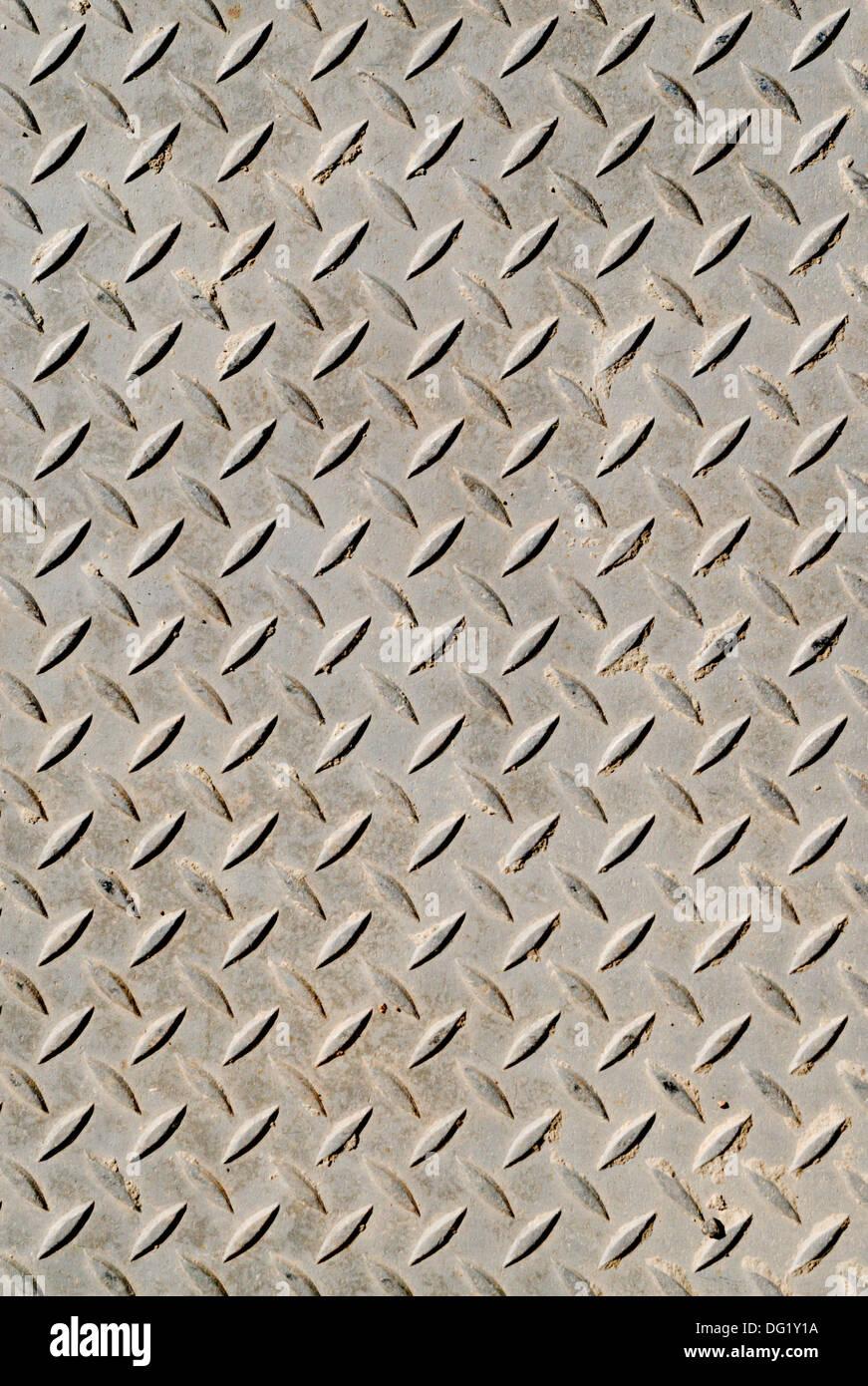 Schraffierte Metall rutschfeste Oberfläche Hintergrund Muster. Stockbild