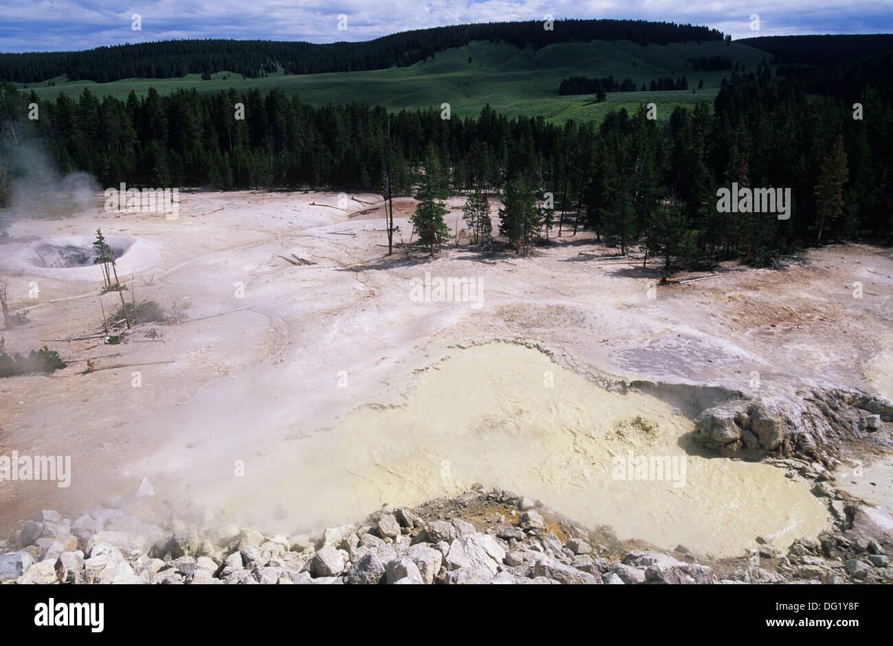 Elk265-2323 Wyoming, Yellowstone-Nationalpark, Mud Volcano, Schwefel Hexenkessel Stockfoto