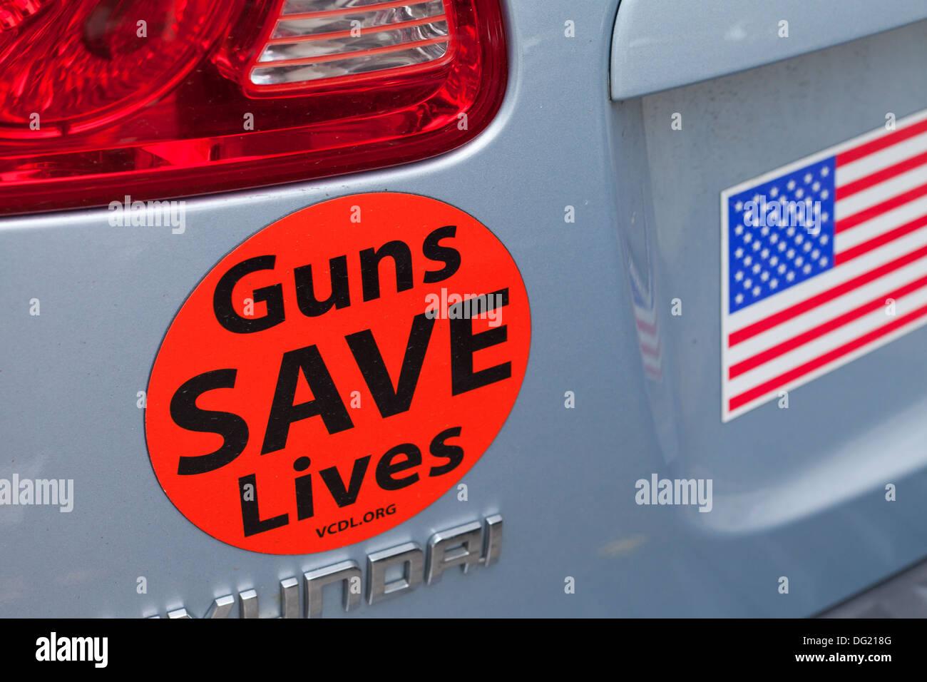 Waffen zu retten Leben Aufkleber - USA Stockbild